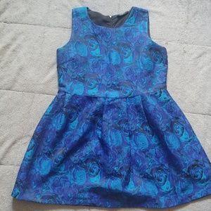 Fit & Flare Blue/Indigo Brocade Dress